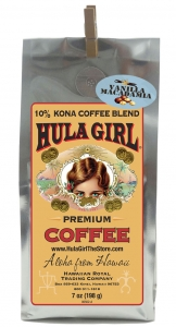 Hula Girl 10% Kona Coffee Blend Vanilla Macadamia Nut 7oz