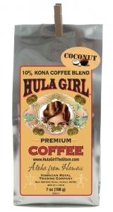 Hula Girl 10% Kona Coffee Blend Coconut Macadamia Nut 7oz