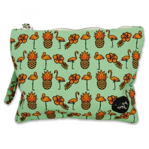 Small pouch Pineapple and Flamingo