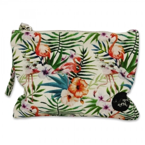 Small pouch Flowers and Flamingo