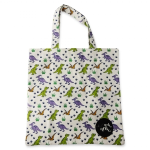 Eco Tote Bag Dinosaurs (White)