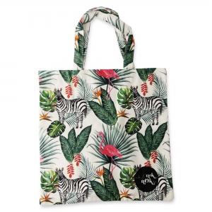 Eco Tote Bag Flamingo, Zebra and Leaves