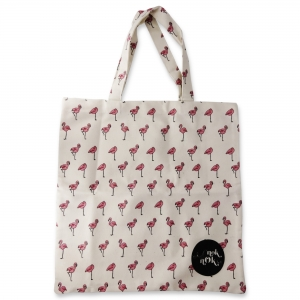 Eco Tote Bag Flamingo Pattern (White)