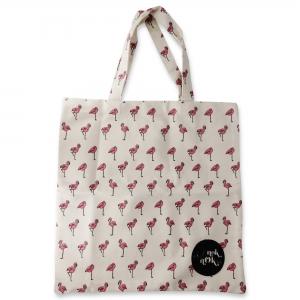 Eco Tote Bag Flamingo Pattern (White)