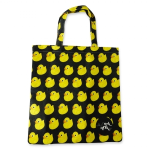 Eco Tote Bag Duck Pattern (Black)