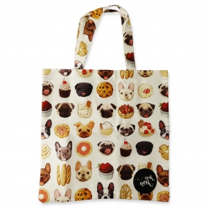 Eco Tote Bag Bull Dogs and Desserts
