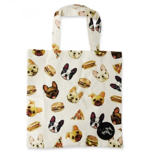 Eco Tote Bag Bull Dogs, Burgers, Pizza and Hotdogs