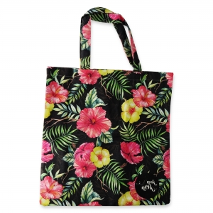 Eco Tote Bag Pink and Yellow Hibiscus Flower (Black)