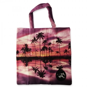 Eco Tote Bag Coconut Palm Trees and Beach at Sunset