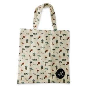 Eco Tote Bag Flamingo, Hibiscus, Pineapple, Sunglasses, Umbrella and Coconut Palm Tree