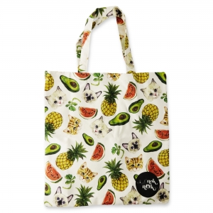 Eco Tote Bag Cats and Fruits