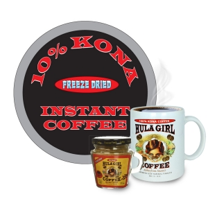 Hula Girl 10% Kona Freeze Dried Instant Coffee Jar with handle (40g)