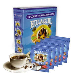 Hula Girl Coconut 10% Kona Drip Coffee Box of 5
