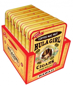 Hula Girl Small Cigar Box of 7 assorted Tins with 8 Mini Cigars Each