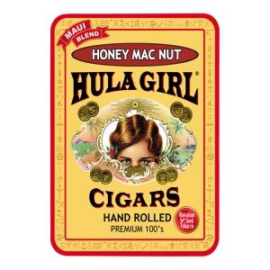 Hula Girl Honey Mac Nut Flavored Small Cigar Tin With 8 Mini Cigars