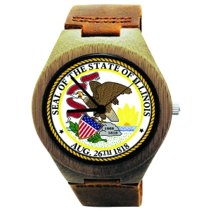 Handmade Wooden Watch Made with Natural Bamboo Wood with State of Illinois Seal