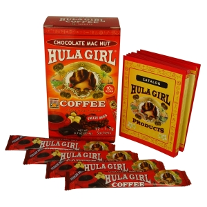 Hula Girl 10% Kona Chocolate MacNut Freeze Dried Instant Coffee (Box of 12 Sachets)