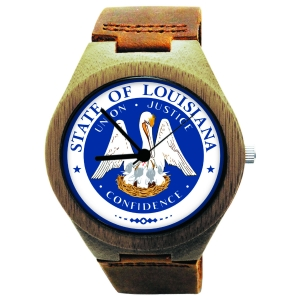 Handmade Wooden Watch Made with Natural Bamboo with State of Louisiana Seal