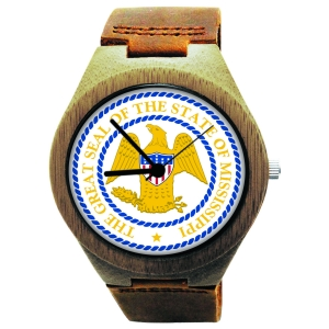 Handmade Wooden Watch Made with Natural Bamboo Wood with State of Mississippi Seal