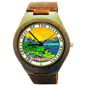 Handmade Wooden Watch Made with Natural Bamboo Wood with State of Montana Seal