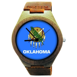 Handmade Wooden Watch Made with Natural Bamboo with State of Oklahoma Flag