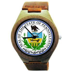 Handmade Wooden Watch Made with Natural Bamboo Wood with State of Pennsylvania Seal
