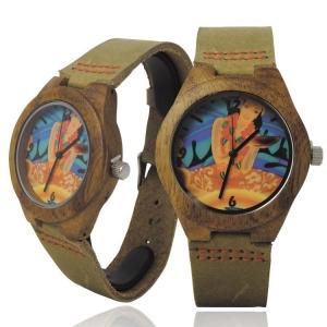 Handmade Kahala Wooden Watch Made with Natural Acacia Koa Wood Cow Hide Band with Hawaiian Artwork - HGW203