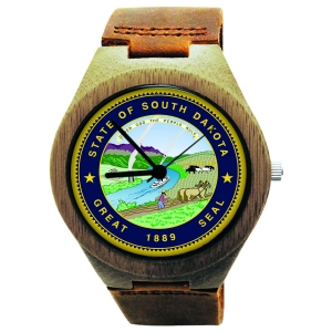 Handmade Wooden Watch Made with Natural Bamboo Wood with State of South Dakota Seal