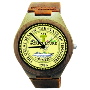Kahala Wooden Watch Made with Natural Bamboo with State of Tennessee Seal