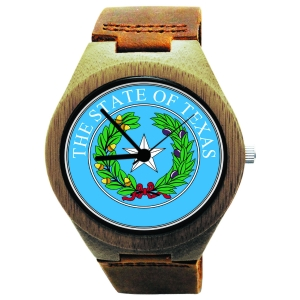 Handmade Wooden Watch Made with Natural Bamboo with State of Texas Seal