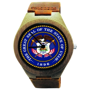 Kahala Wooden Watch Made with Natural Bamboo Wood with State of Utah Seal