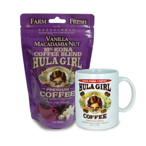 Hula Girl 10% Kona Coffee Blend Vanilla Macadamia Nut 5oz