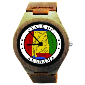 Kahala Wooden Watch Made with Natural Bamboo Wood with State of Alabama Seal
