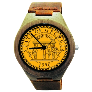 Kahala Wooden Watch Made with Natural Bamboo Wood with State of Georgia Seal