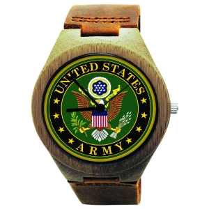 Kahala Wooden Watch Made with Natural Bamboo Wood with US Army Seal
