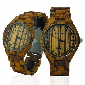 Handmade Wooden watch Made with Zebra Wood - Kahala Brand # 22