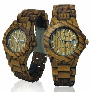 Handmade Wooden Watch Made with Zebra Wood - Kahala Brand # 34