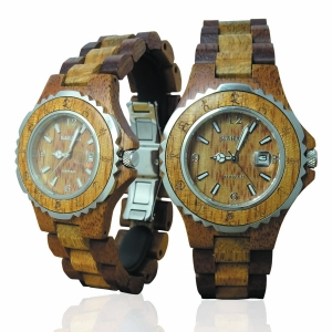Handmade Wooden Watch Made with Hawaiian Koa and Mango Wood - Kahala Brand # 12-A