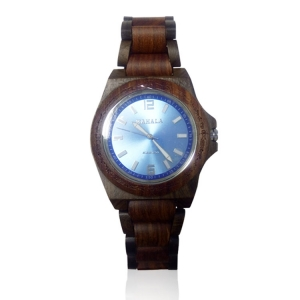 Handmade Wooden Watch Made with Black and Red Sandalwood with Sunray Blue Face