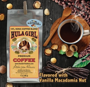 Hula Girl 10% Kona Coffee Blend Vanilla Macadamia Nut 7oz