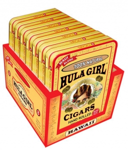 Hula Girl 100% Natural Small Cigar Box of 7 Tins with 8 Mini Cigars Each