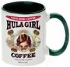 Hula Girl Coffee 11oz Mug Two Tone Green Inner and Handle