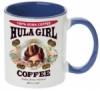 Hula Girl Coffee 11oz Mug Two Tone Blue Inner and Handle