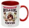 Hula Girl Coffee 11oz Mug Two Tone Red Inner and Handle