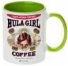 Hula Girl Coffee 11oz Mug Two Tone Light Green Inner and Handle