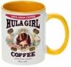Hula Girl Coffee 11oz Mug Two Tone Golden Yellow Inner and Handle