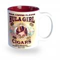 Hula Girl Mug with Cigar Logo Two Tone Maroon 11oz