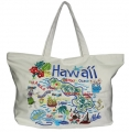 Hawaiian Embroidered Cotton Beach Bag