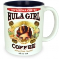 Hula Girl Mug with Coffee Logo Two Tone Blue 11oz