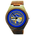 Kahala Wooden Watch Made with Natural Bamboo with State of Nebraska Flag